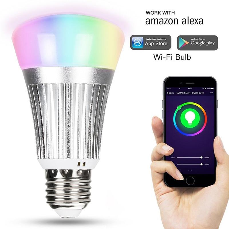 Smart WiFi LED Light Bulb 7W E27 RGBW Multicolor Dimmable LED Lamp Bulb Bombilla Compatible with Amazon Alexa,Google Assistant