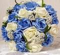 2017 dama de Honor Nupcial de La Boda Bouquet Barato Nueva Llegada Azul y Marfil Artificial Hecha A Mano de Flores de La Boda Ramos de Novia