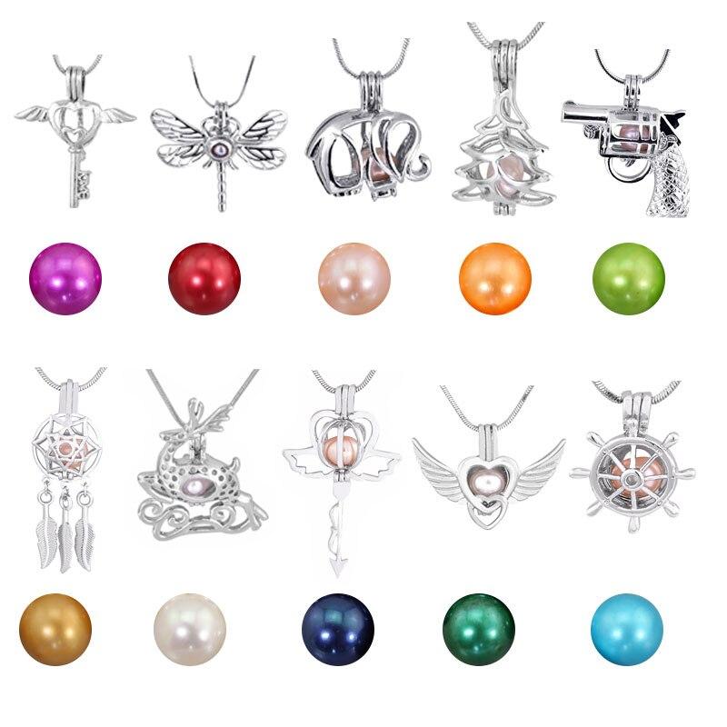 10 pièces Perle Pendentifs Médaillon En Argent Pour Collier Bijoux 10 Différentes Perles Colorées dans Différents Styles Pendentifs PJ249