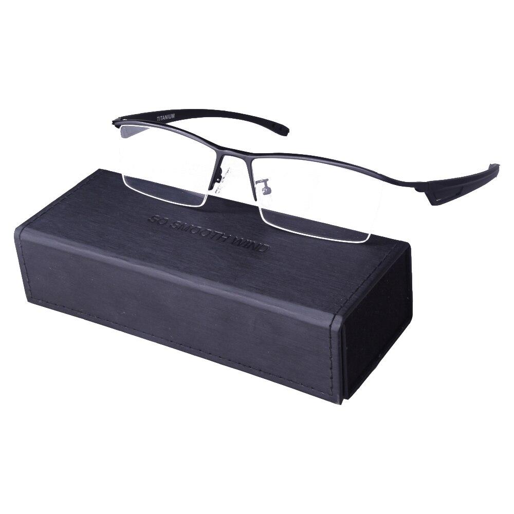 Lunettes en titane pur surdimensionné lunettes semi-jante cadre hommes lecture optique Prescription lunettes mâle Oculos De Grau