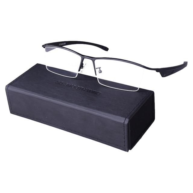 Oversized Semi-Aro Óculos De Titânio puro Óculos de Armação Homens Óculos de Leitura Óptica da Prescrição Oculos de grau Masculino