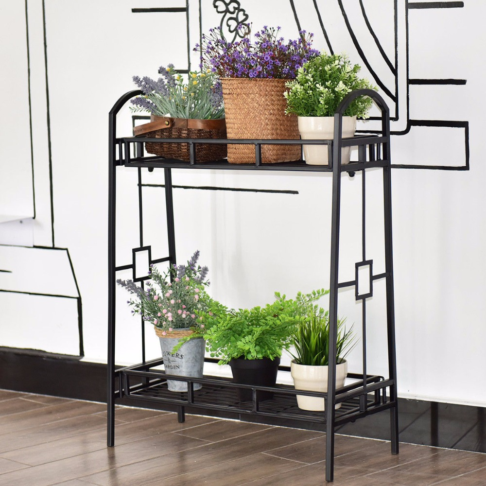 Giantex Heavy Duty 2 Tier Metal Flower Pot Rack Plant Display Stand Shelf Holder Decor Outdoor Furniture OP3344 цена и фото