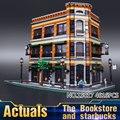 2016 LEPIN 15017 4616 Unids Ciudad Calle Creador Starbucks Bookstore Cafe Modelo Kit de Construcción de Bloques de Juguete Ladrillos Compatibles