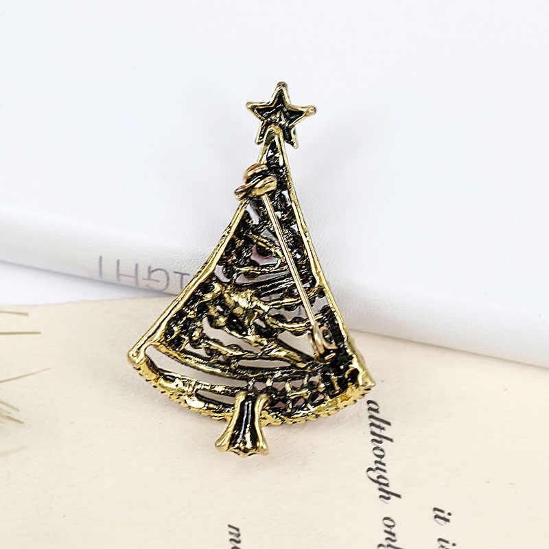 Cindy Xiang Cukup Berlian Imitasi Pohon Natal Bros untuk Wanita Berwarna-warni Pin Mantel Perhiasan Gaun Korsase Aksesoris 2018