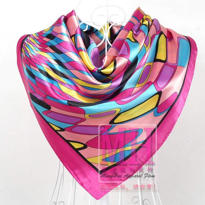 Дизайн женский Шелковый большой квадратный шелковый шарф из полиэстера, 90*90 см горячая Распродажа атласный шарф с принтом для весны, лета, осени, зимы - Цвет: 109 brown