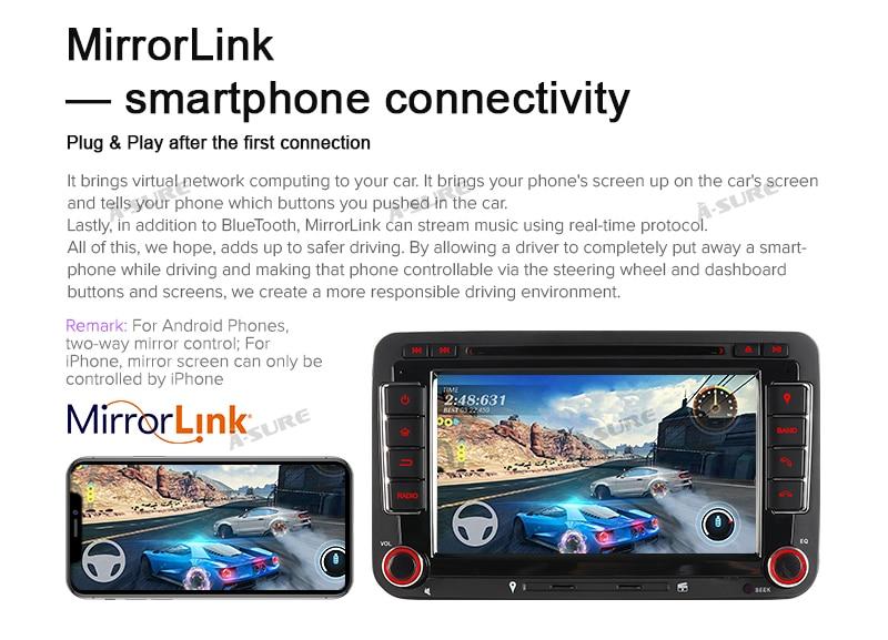 Android 9.0 VW PASSAT TIGUAN Golf 7 2 Din GPS DVD DAB + 73