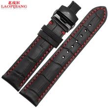 Laopijiang 18 مللي متر 19 مللي متر 20 مللي متر 21 مللي متر 22 مللي متر 24 مللي متر جديد جلد طبيعي أسود مربط الساعة حزام (استيك) ساعة حزام سوار مع الخيط الأحمر
