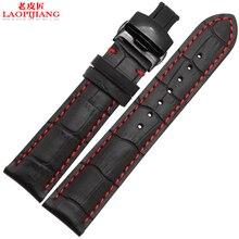 Laopijiang 18mm 19mm 20mm 21mm 22mm 24mm Neue Schwarz Echtes Leder Armband Uhr Band armband armband Mit Roten faden