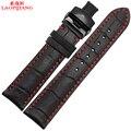 Laopijiang18mm 19 mm 20 mm 21 mm 22 mm 24 mm nueva negro correa de piel genuina correa correa de reloj pulsera con hilo rojo