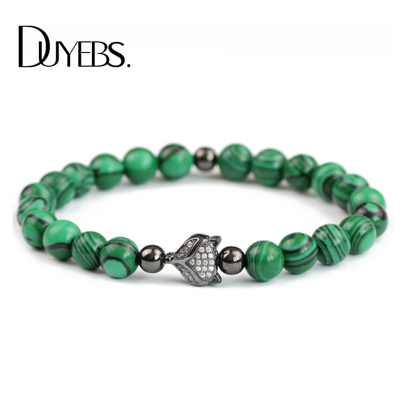 DUYEBS Men Charm Bracelets Zircon Fox Male Bangle Elastic Rope 8mm Malachite Stone Beads Fashion Jewelry Pulseras masculina Gift