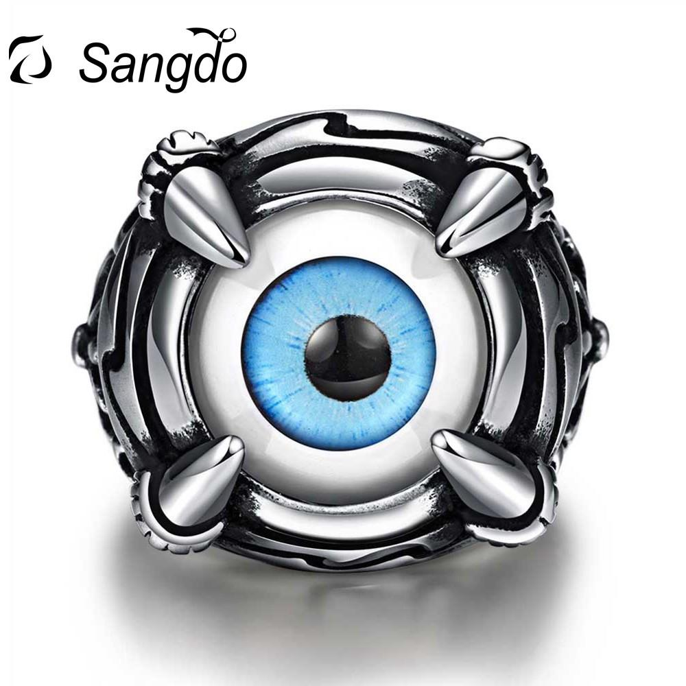 Sangdo Rings Stainless Steel Vintage Devils Eye Punk Rock Gothic Mens Ring Black Friday And Christmas Perfect Gift