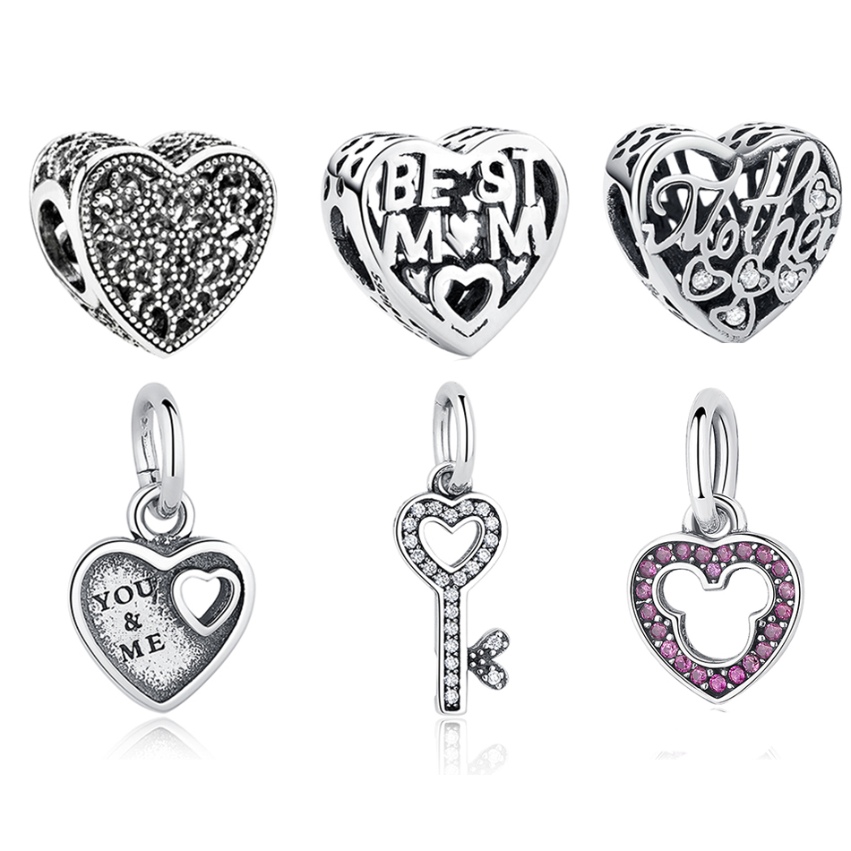 Authentic 925 Sterling Silver Mom Mother Beads Fit Original Pandora Charms Bracelet Heart Shape Beads DIY Jewelry Gift