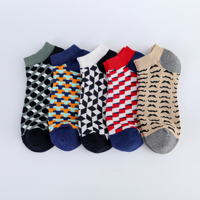 Jhouson Colorful Classic Beard Geometry Pattern Funny Ankle Sock Fashion Men's Cotton Novelty Summer Casual Socks For Male 2