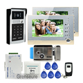 "FREE SHIPPING 7"" LCD Screen Record Video Intercom Door Phone System 2 Monitors Outdoor RFID Keypad Doorbell Camera Electric Lock"