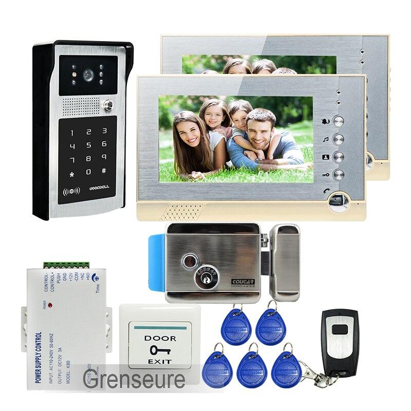LIVRAISON GRATUITE 7 Écran LCD Enregistrement Vidéo Interphone Porte Téléphone Système 2 Moniteurs Extérieure RFID Clavier Sonnette Caméra Serrure Électrique