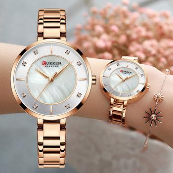 Curren kobieta zegarki różowe złoto Top marka luksusowy zegarek kobiety zegarek kwarcowy wodoodporny damski panie dziewczyny zegarki zegar tanie i dobre opinie QUARTZ ALLOY Klamra 3Bar Moda casual Odporne na wodę Odporny na wstrząsy C-9051 Papier Hardlex ROUND Women Wristwatches