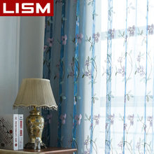 Embroidered Floral Tulle Sheer Curtain For Living Room Bedroom Kitchen Window Screening Pastoral Curtains Voile Drapes Door LISM