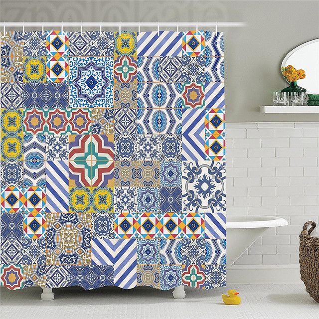 Moroccan Classic Mosaic Tile Inspired Patchwork Style Pattern Artwork Print Polyester Bathroom Shower Curtain Blue