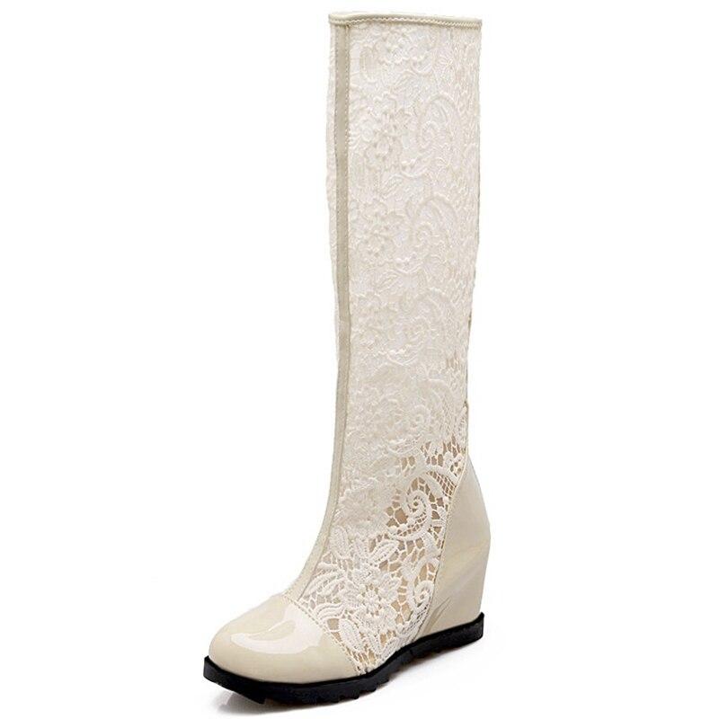 Botas Blanco Rodilla Altura Zapatos Cuña De black Flores Mujeres white Creciente 2019 Lisa Verano Beige Encaje Corte Las Orcha La Mujer Malla qBEfUf