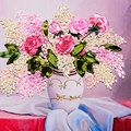 45x50cm rosa diy 3d ponto cruz kit needlework unfinished fita bordado pintura costura presente pintura da parede