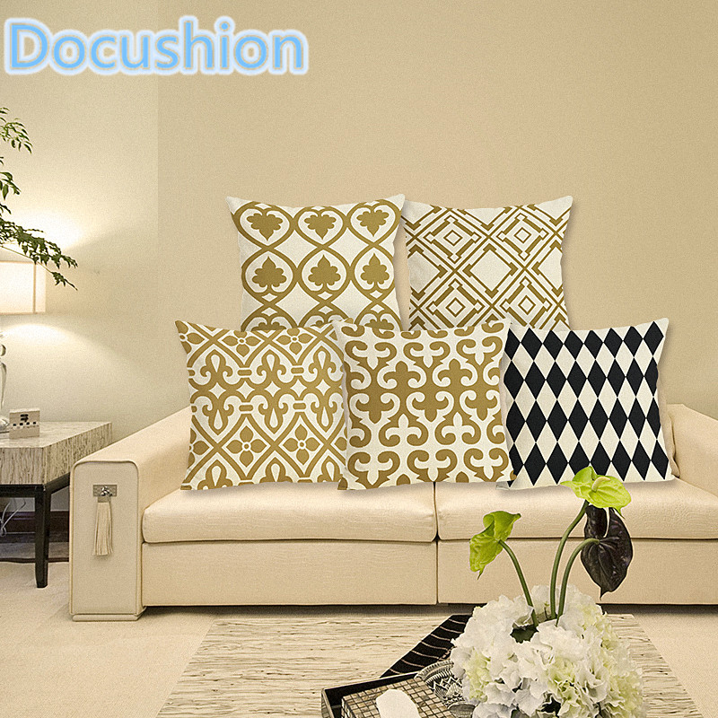 ⊹Personalized Retro Gold Geometric Printed Pillow Bed Sofa