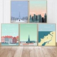 ملصقات ومطبوعات للسفر برسومات كرتونية اسكندنافية لمشهد باريس ونيويورك لوحة قماشية لتزيين المنزل صور فنية جدارية لغرفة النوم