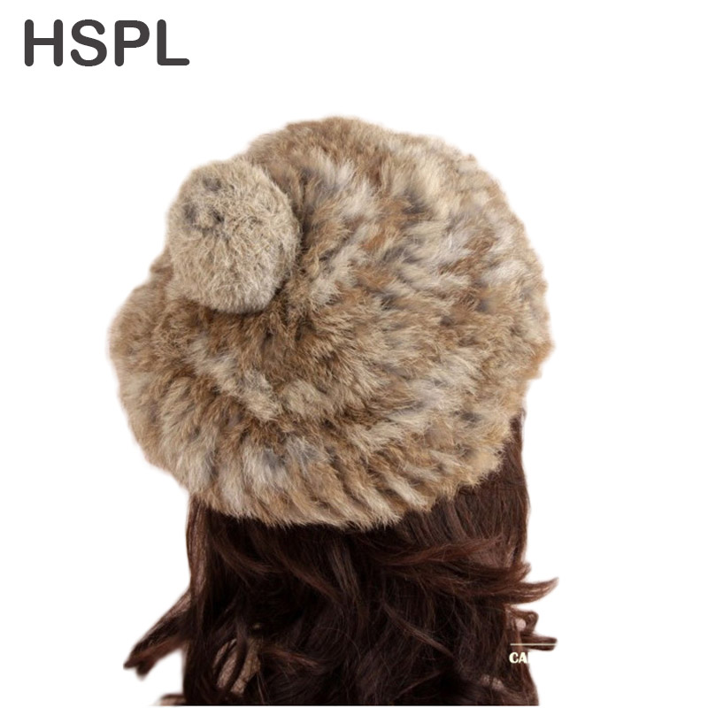 HSPL 2017 New Item Fashion Unisex Knitted Rabbit Fur Cap With Ball  for  Winter real fur hat 4pcs new for ball uff bes m18mg noc80b s04g