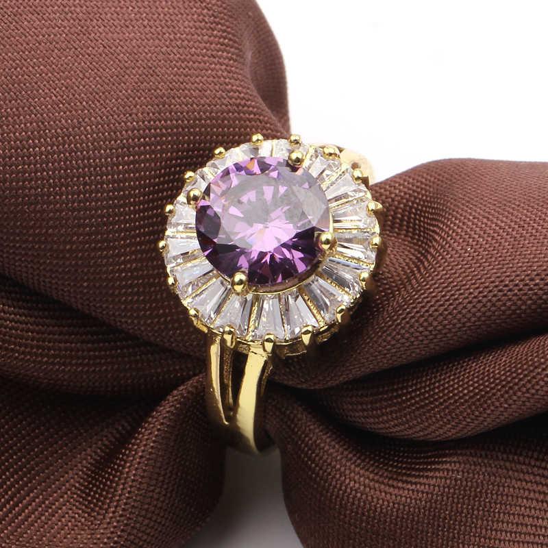 แฟชั่นที่มีสีสัน zircon เครื่องประดับ Vintage Wedding Party หมั้นแหวน Rose Gold silver Gold Filled แหวนผู้หญิงเครื่องประดับ