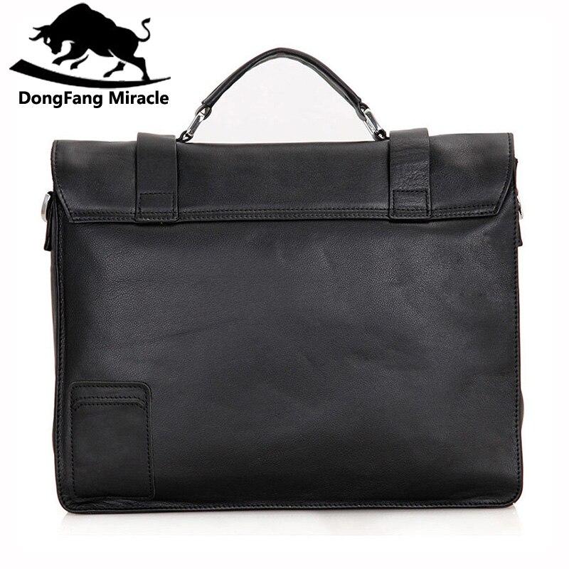 Dongfang 기적 암소 가죽 남성 비즈니스 핸드백 패션 오피스 서류 가방 플랩 hasp 어깨 메신저 가방-에서서류 가방부터 수화물 & 가방 의  그룹 3