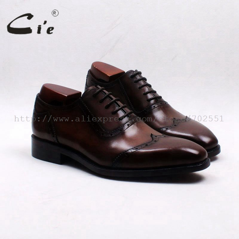 cie Free Shipping Adhesive Craft Bespoke Handmade Calf Leather Upper Inner Outsole Men's Dress Oxford Brown Shoe OX553 W-tips obbilly bespoke handmade genuine calf leather upper outsole insole breathable brown cement craft round toe shoe no ox655