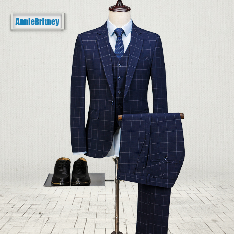 2017 Latest Coat Pant Designs Navy Blue Pattern Men Suit Prom Blazer Slim Fit 3 Piece Style Suits Custom Groom Tuxedo Masculino