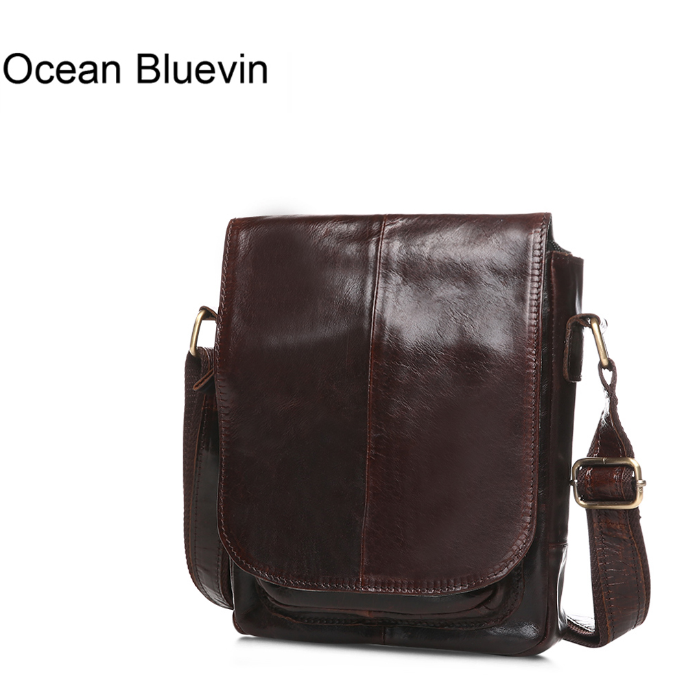 OCEAN BLUEVIN Genuine Leather Men Bags Male Cowhide Flap Bag Shoulder Crossbody Bags Handbags Messenger Small Men Leather Bag new style alligator genuine leather small messenger bags for men crossbody bag cowhide men single shoulder bag male handbags