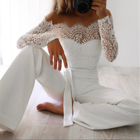 Women Lace Jumpsuit 2019 Spring Summer New Off Shoulder Jumpsuit Sexy Long Sleeves Bodysuit White Wide leg Strapless Playsuit