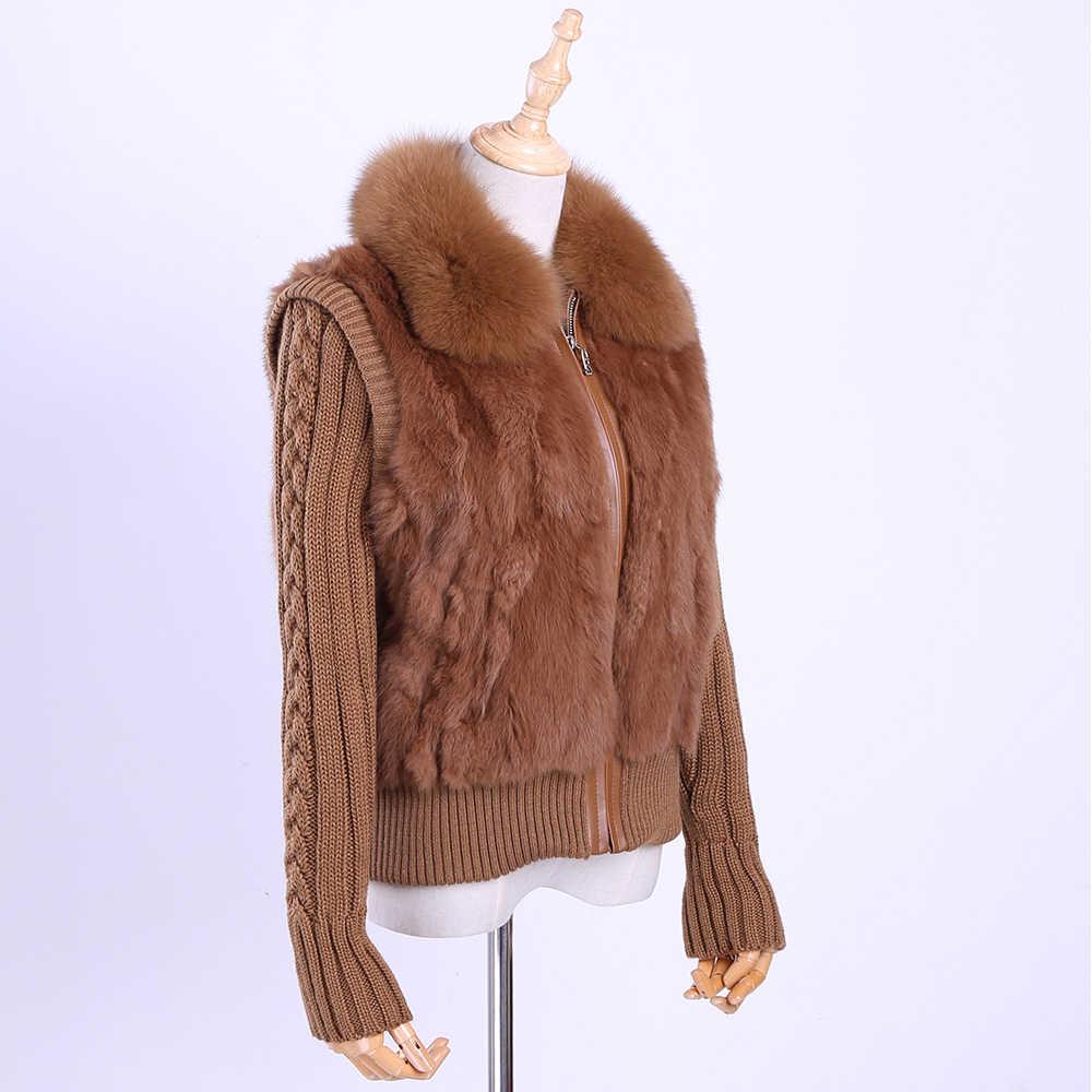 2019 kadın Hakiki Gerçek Tavşan Kürk Tilki kürk Yaka Örgü Kollu kadın Kış Ceket Kürk Ceket Rahat Kısa dış giyim Ince