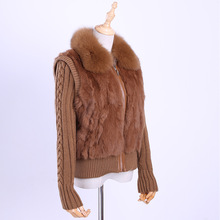 Fur Jacket Short Winter Coat Fox-Fur-Collar Real-Rabbit-Fur Women's Knitting-Sleeve Genuine