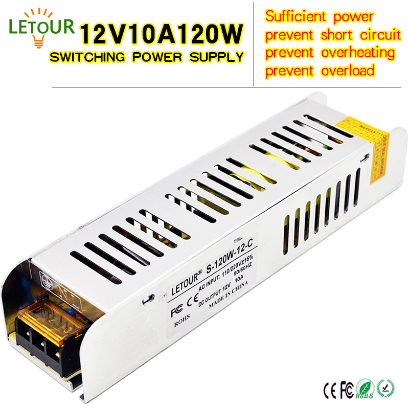 DC Power Supply 12V 10A Adapter AC 180V-240V Transformer 12V 120W AC-DC LED Driver New Size for LED Strip Motor CE FCC Cret new 12v 1a 12w ac dc transformer driver for mr16 mr11 gu5 3 led bulbs strips promotion