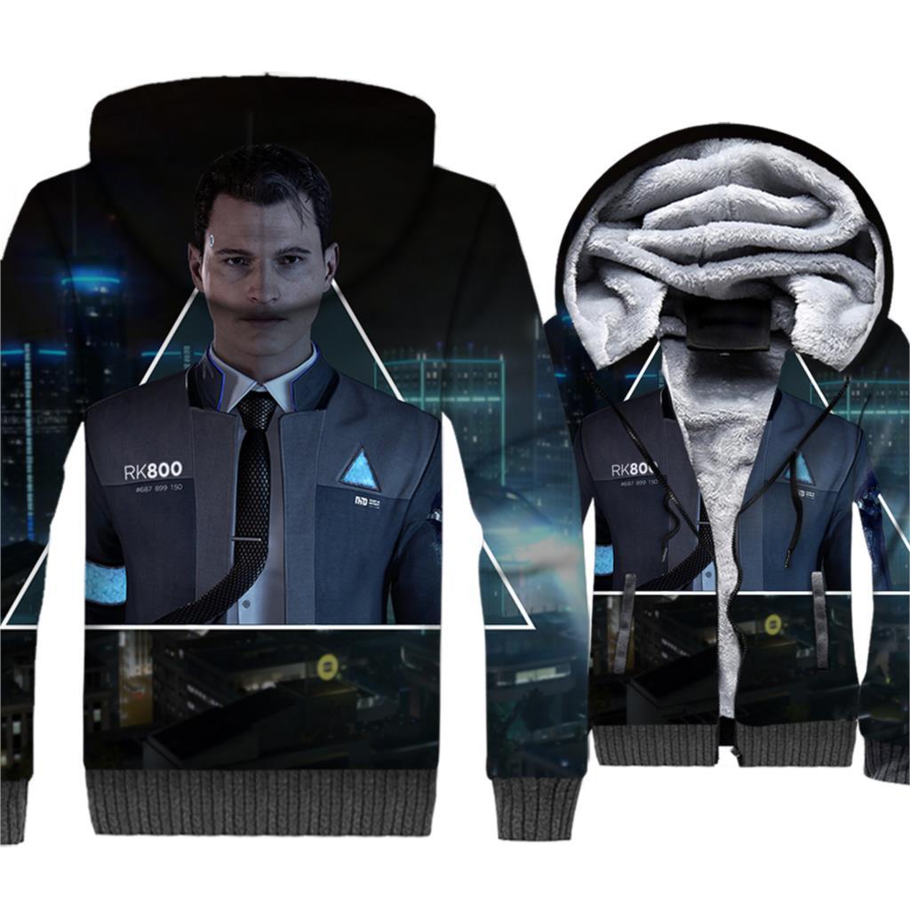 Fashion Hoodies For Men Thick Coat 3D Print Detroit: Become Human Streetwear Men's Sweatshirts Jacket 2018 Autumn Winter Hoddie
