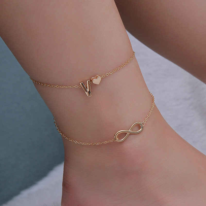 New Fashion Women 26 Letters Ankle Bracelet Infinity Symbol Simple Metal Heart Anklet Barefoot Sandals Foot Chain Jewelry