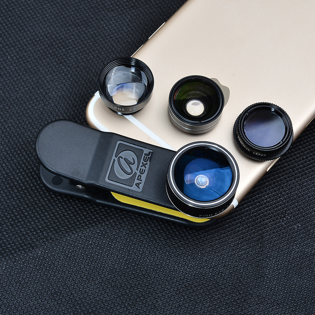 APEXEL Universal Clip 5 in 1 Fish eye Lens Wide Angle Macro 2X Teleconverter CPL Mobile Phone Lens For iPhone 6s 7 6plus Sams s8 3