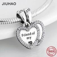 Талисманы друг мой 925 пробы серебряные подвески в виде сердца подходят к оригинальному браслету Pandora ювелирные изделия для дружбы