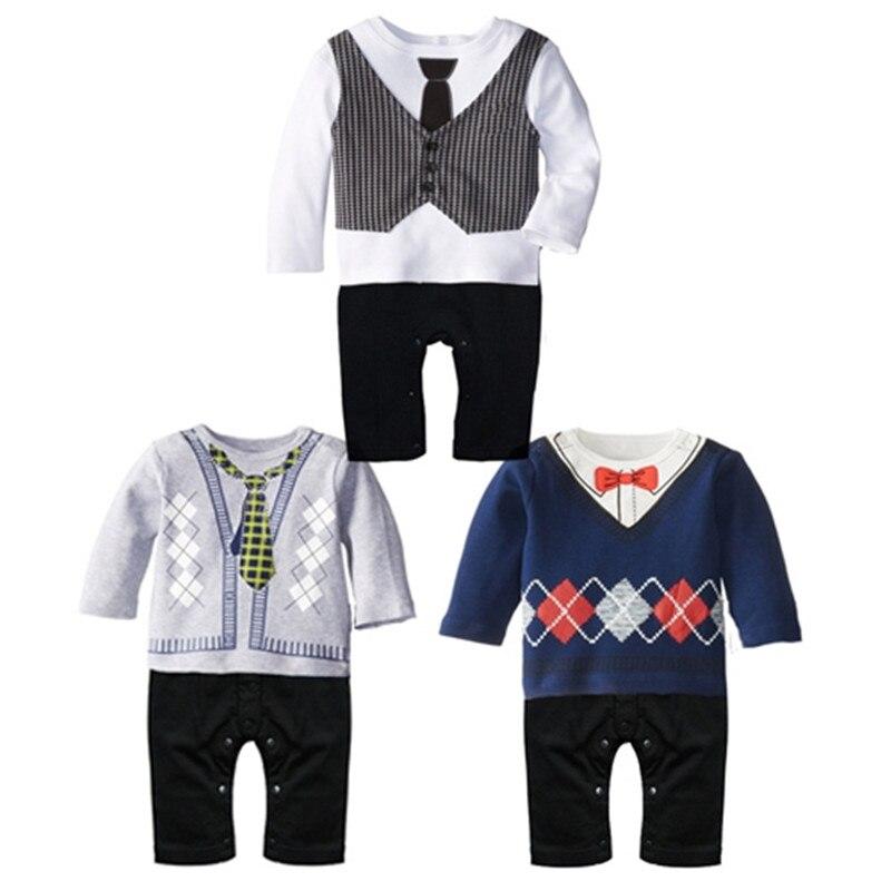 Primavera Bebé Ropa bebé recién nacido Caballero mameluco onesie algodón  manga larga del mameluco para el bebé Niños ropa recien nacido en Sistemas  de la ... 9cffa495a78