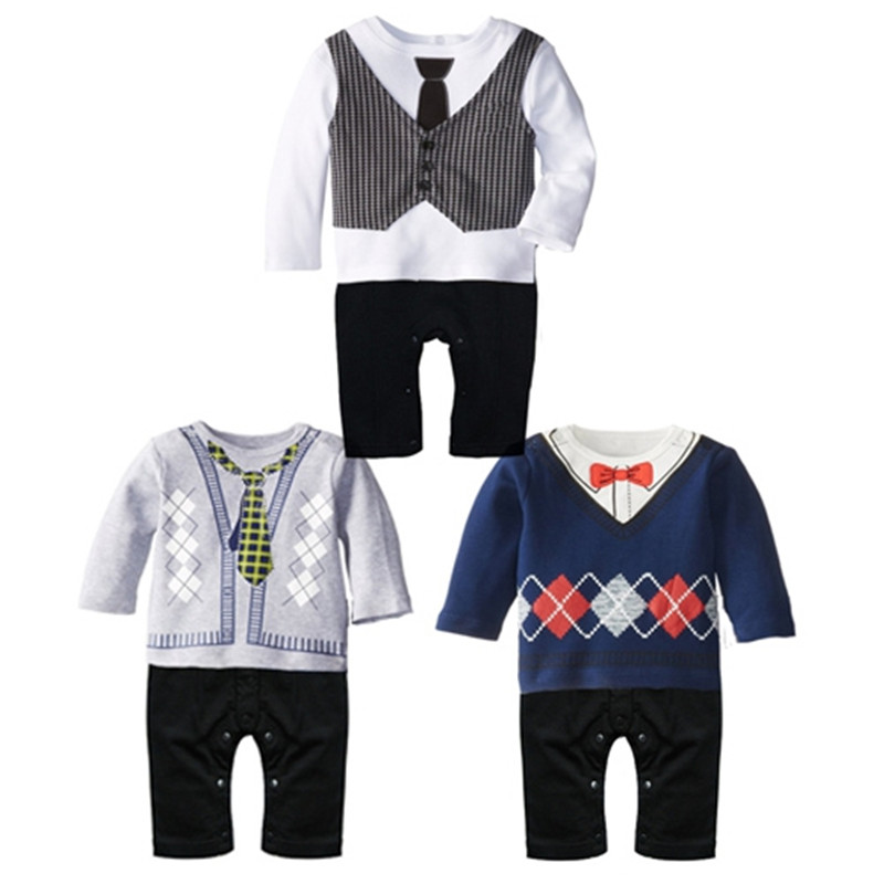 Spring Baby Boy Clothes Newborn Baby Gentleman Romper Onesie Cotton Long sleeve Romper For Baby Boys Clothes ropa recien nacido 21 style new 2017 summer 100% cotton ropa bebe newborn baby boys clothing clothes creeper jumpsuit short sleeve romper baby boy