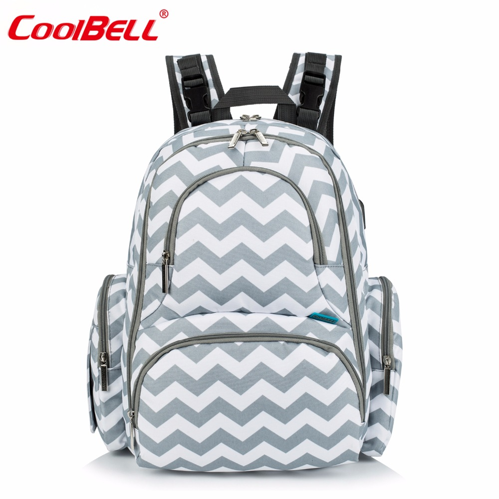 CoolBell Baby Diaper Backpack Bag Waterproof Baby Bag For Mom Multi-functional Travel Knapsack With USB charging Port