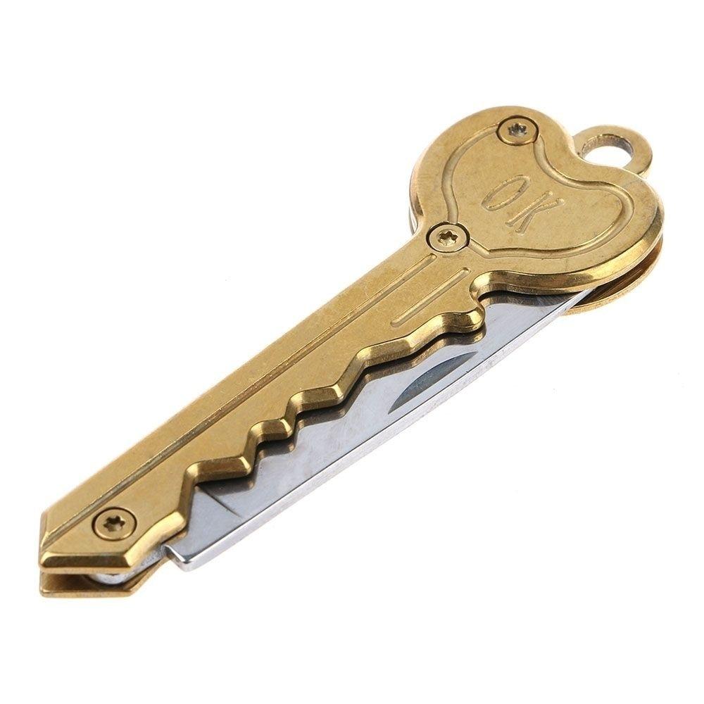 Мини-нож в виде ключа Тактический лагерь Открытый брелок складной открытие Открыватель Карманный Самообороны безопасности многофункциональный инструмент коробка для лезвий - Цвет: Золотой