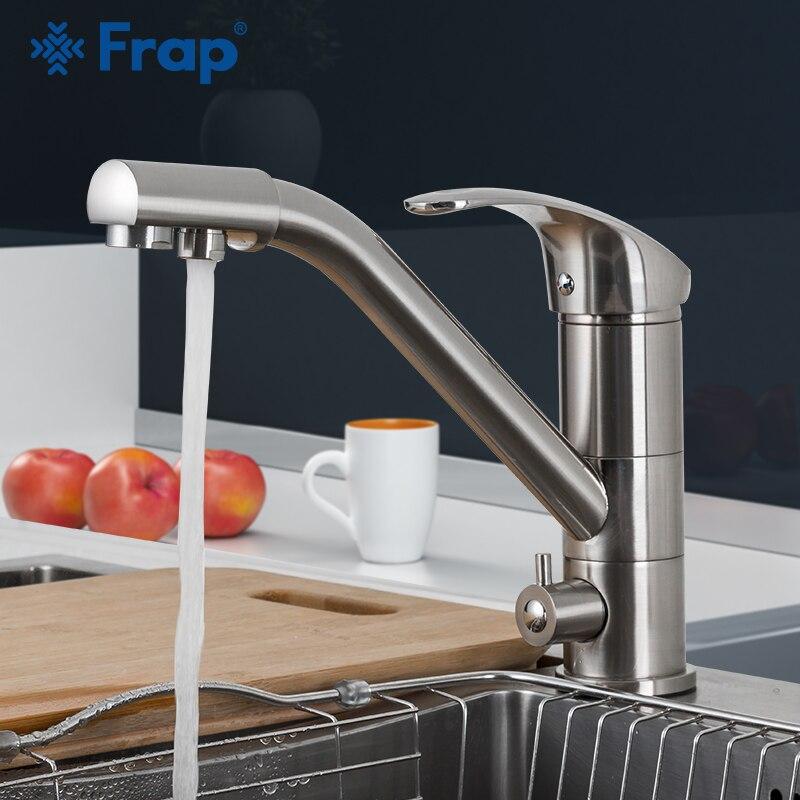 Robinet de cuisine FRAP nickel brossé 360 rotation robinet d'évier de cuisine avec eau filtrée mélangeur robinets robinet d'évier de cuisine