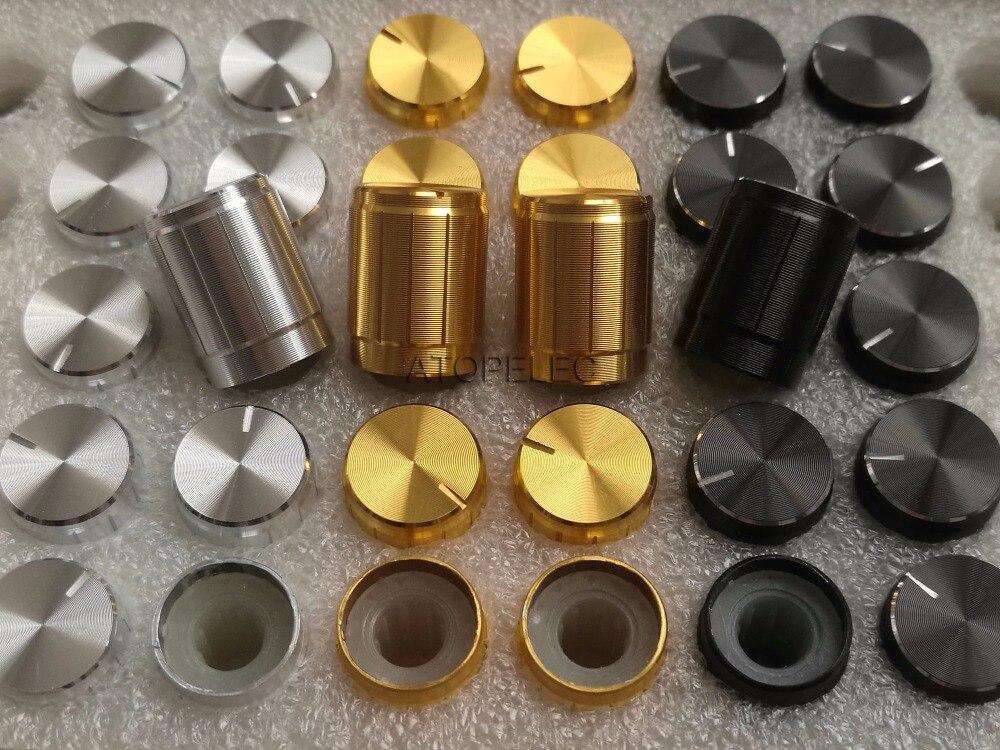 6Pc 15*17mm Gold Aluminum Potentiometer Volume Control KNOB Hifi 6MM