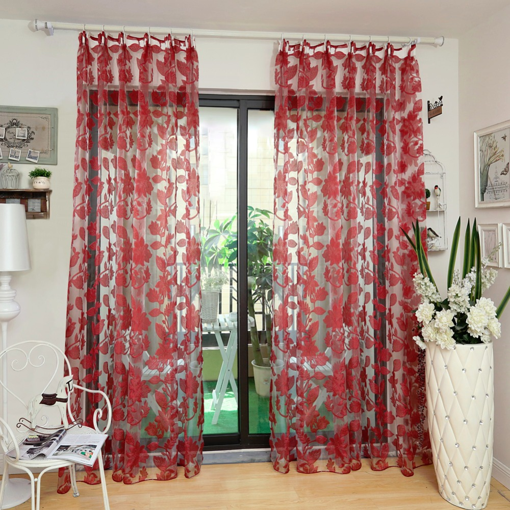 Tulle curtains floral design window treatments white fabrics ready made jacquard kitchen door curtains sheer panel transparent in curtains from home