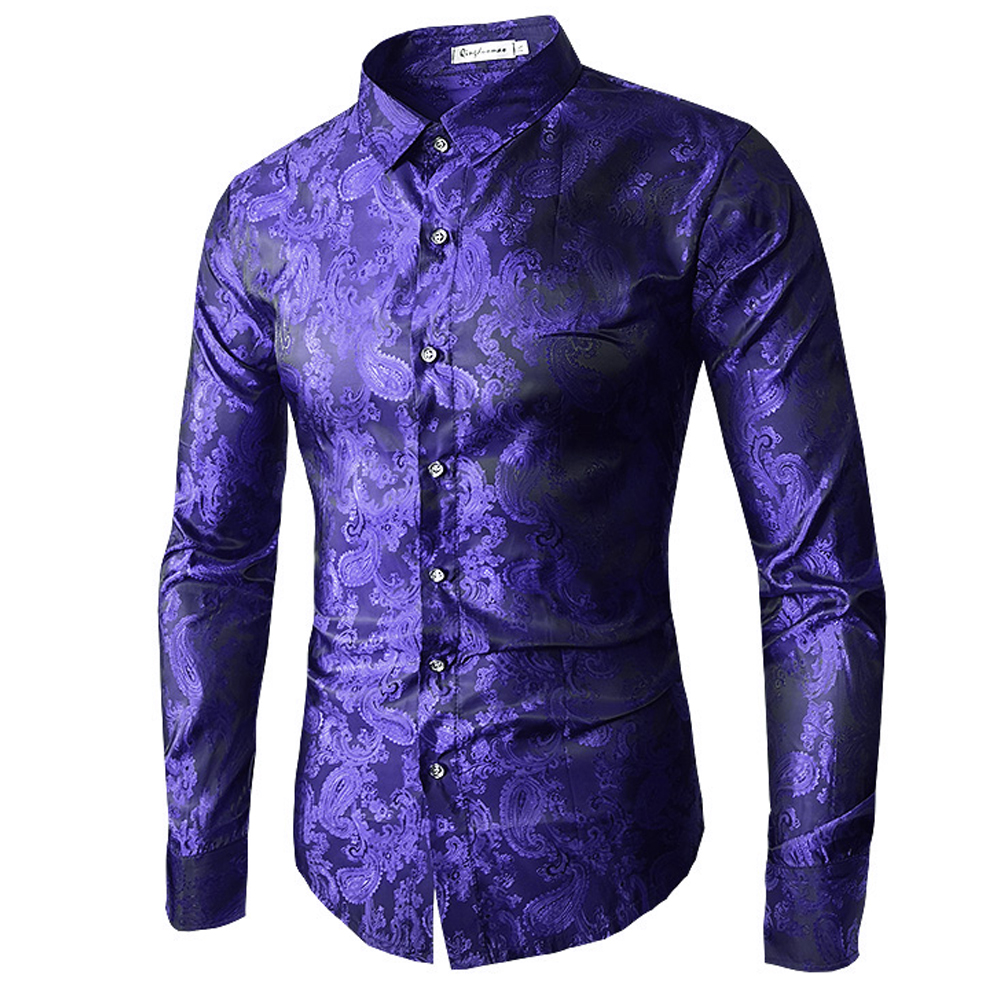 Brand 2018 Fashion Male Shirt Long-Sleeves Tops Embroidery Pattern Mens Dress Shirts Slim Men Figured Shirt XXL ...