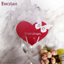 Newest 50pcs/set Wedding Table Decoration Place Cards Laser Cut Heart Floral Wine Glass For Party
