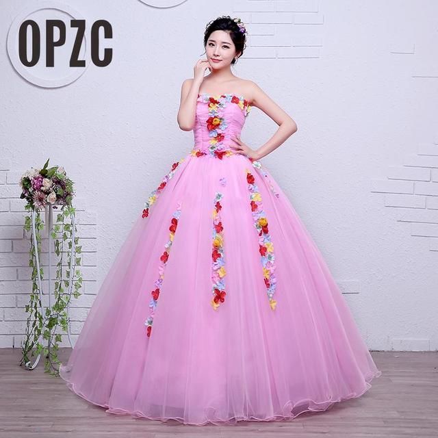 Velnosa Pink Vintage High Neck Flowers Strapless Wedding Dress 2017 New  Korean Style Princess cheap Lace Ball Vestidos De Novia ae5898588dc1